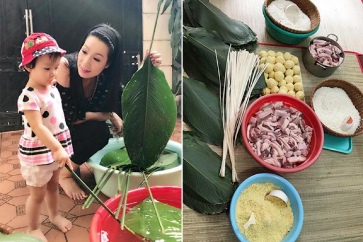 Bí quyết gói bánh chưng đẹp, ngon của nhà sao Việt